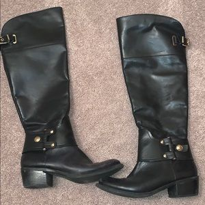 Michael Kors Black and Gold Leather Boots